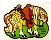 ON SALE Vintage Mello Smello Scratch and Sniff Horse and Leather Saddle Sticker 80's