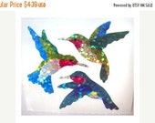 ON SALE Rare Vintage Hambly Glitter Hummingbird Stickers 80's - 2 Squares - Retro Collectable Scrapbook Bird Collage
