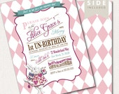 Alice in Wonderland  Invitation / Birthday / Mad Hatter Tea Party - Printable Birthday Party Invitation - Pink