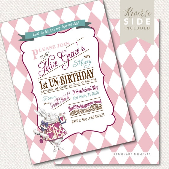 Alice in Wonderland Tea Party Birthday Invitation