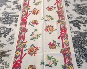Table runner Vintage 1950s Western Mexican themed