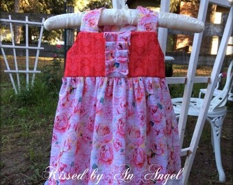 Girls shabby chic pink and red rose dress with lace for birthdays, photo prop, garden or cottoge weddings,flower girls