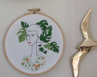 Hand embroidery, interior decoration,illustration, monstera, plant