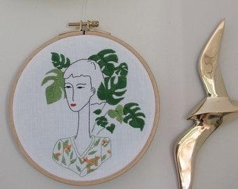 Hand embroidery, interior decoration,illustration, monstera, plant