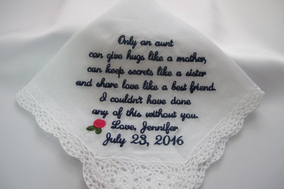 Wedding handkerchief embroidered for an Aunt