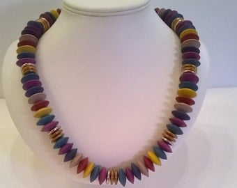 Colorful Wooden Bead Necklace - Vintage Teal, Purple, Golden Yellow, Tan Wood Discs & Silver, Gold, and Copper Flat Beads - 24 Inch Necklace