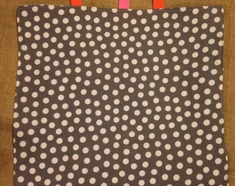 Polkadot and fleece gray lovey taggie blanket