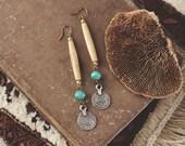 Earthy Bone Bead & Coin Earrings