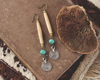 Earthy Bone Bead & Coin Earrings