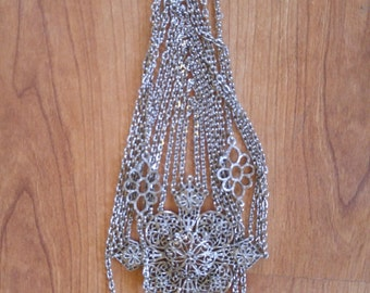 80s Goth / abstract/  boho / hippie / heavy metal silvertone metal multi strand long chains flower pendant necklace
