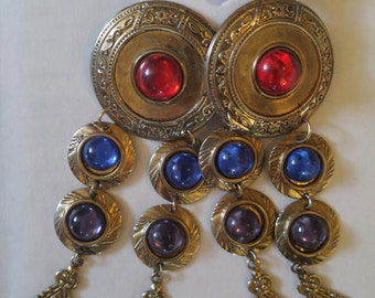 80s medieval style super dangly metal and faux gem earrings