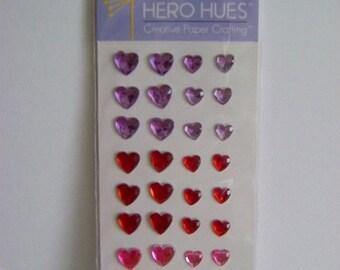 Heart Shaped Self-adhesive Gems