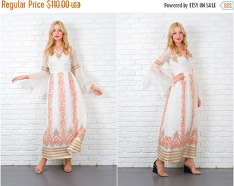 ON SALE Vintage 70s Paisley Floral Dress Angel Slv ALFRED Shaheen Maxi Hippie Boho S 5428 vintage dress paisley dress angel sleeve dress max