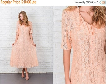 ON SALE Vintage 80s 90s Peach Floral Lace Dress Grunge Short Sleeve Maxi XS Small 7778 vintage dress 80s dress 90s dress peach dress floral