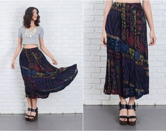 Vintage 80s 90s Abstract Print Skirt Tribal Geo Black XS Small S 6949 vintage skirt 80s skirt 90s skirt tribal skirt geo skirt small skirt