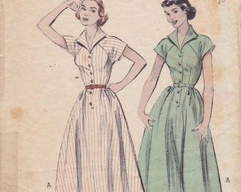 1950s Flirty Rockabilly Shirtwaist Dress Vintage Pattern, Butterick 6409, 4 Gore Skirt, Short Raglan Sleeves, Button Front, Wing Collar