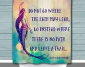 Mermaid Shower Curtain: Do Not Go. Leave a Trail | Made in the USA | 12 Hole Fabric Bathroom Decor