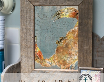 Maryland Crab Map Orange - Framed Print in Reclaimed Barnwood Beach House Style - Handmade 8x10 or 5x7 Ready to Hang & Ship