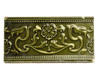 Set of 2 green decorative tiles