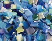 100 AQUA BLUE - Odd Sized Mosaic Stained Glass Tile Mix B33