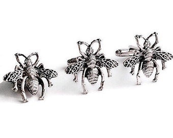SALE Silver Bumblebee Cufflinks & Tie Tack, Mens Handcrafted Bee Fly Winged Insect Cuff Links Set- Gift Groom Wedding Prom
