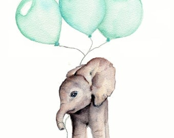 Elephant print, nursery wall art, mint nursery decor, elephant with balloon, gender neutral nursery, kids wall prints, 8 X 10 inch print