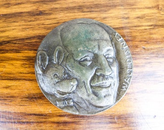 Vintage Alex Shagin Bronze Walt Disney Mickey Mouse Decorative Figural Medallion Medal Coin, Unique One of a Kind Present Stocking Filler