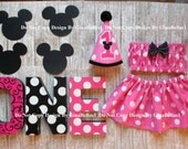 Minnie Mouse Birthday cake smash baby pink outfit clubhouse headband ears OR  I am One Hat tutu skirt 9 12 18 toddler Photo shoot Package