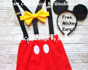 Mickey Mouse Birthday outfit cake smash costume boy bow tie SHORTS clubhouse FREE ears suspenders 1st 2nd 3rd 9 12 18 24 2T toddler SALE