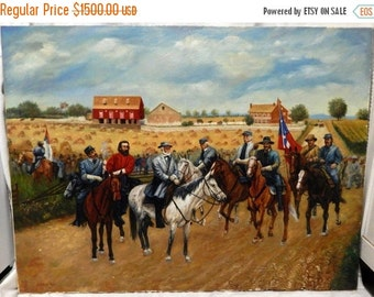 Sale Equestrian Oil Painting Art O/C United States Robert E. Lee Gettysburg Civil War Scene Signed