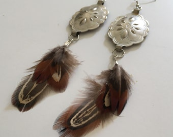 Feather / Silver Concho Earrings