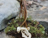Flower Girl Basket Personalized Lined With Moss, Pearls, Custom Ribbon, Rustic, Cottage Weddings PLEASE READ MEASUREMENTS!