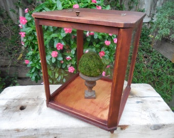 Vintage Wood and Glass Display Case FREE SHIP