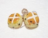 Hot Cross Bun Earrings. Polymer Clay.