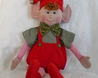 CHRISTMAS ELF Doll Decoration red and green holiday elf with cute gingham shirt