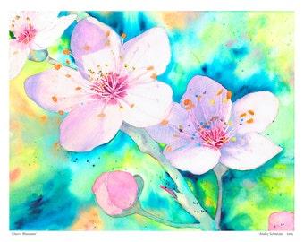 Watercolor Print, Cherry Blossoms, Wall Decor