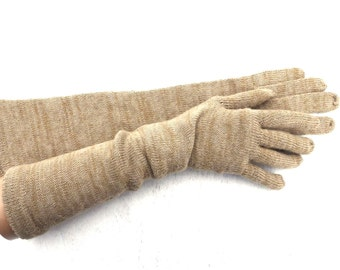 Gloves, Knitted long gloves with fingers, Colorful beige wool gloves, evening gloves, sand women arm warmers, hand warmers, winter gloves
