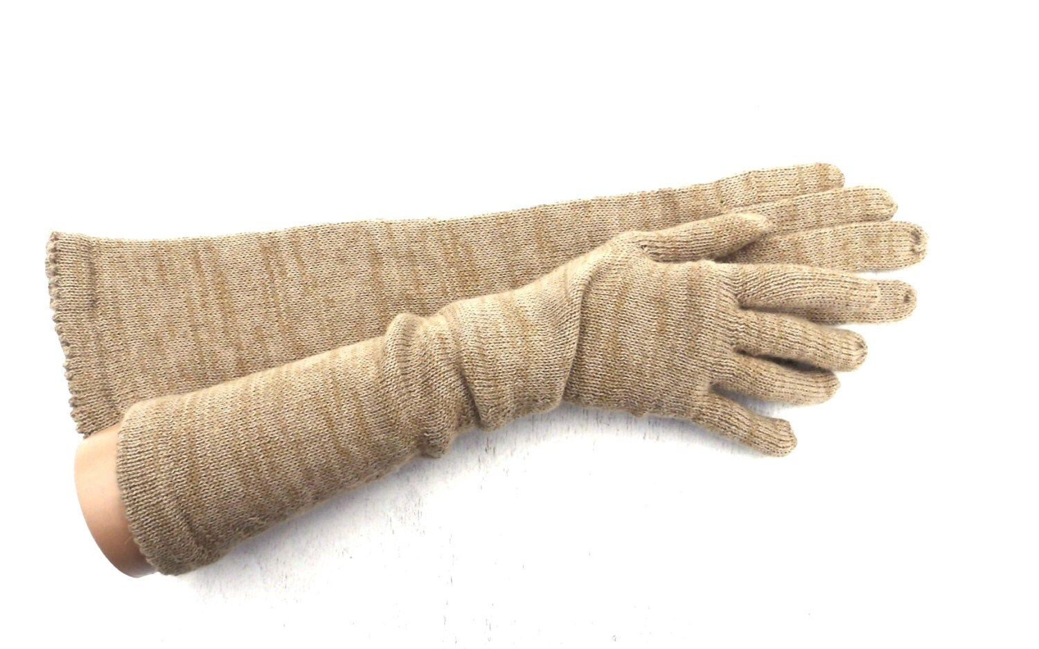 Knitted long gloves with fingers Colorful gray brown wool