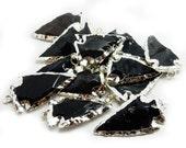 Black Obsidian Arrowhead Pendant with Electroplated Silver  (S55B7b-02)