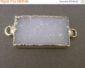 12% off Wholesale Druzy Druzzy Drusy Pendant Rectangle Edged in 24k gold Double Bail (S1B13-08)