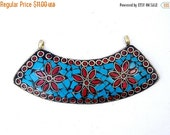 15% Valentines Day Tibetan Brass Double Bail Pendant - LARGE Tibetan Brass, Turquoise and Red Coral Flower Mosaic Curved Bar Pendant (S53-B6