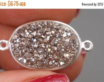 12% off Wholesale Connector Druzy Bezel Platinum Color Oval Large 13x18 mm silver plated Druzy Charm (S41b11-05)