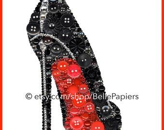Fashion Wall Art Button Art Print Shoe Stiletto Christian Louboutin High Heel Red Bottom Shoe Black Shoe Button and Swarovski Louboutin