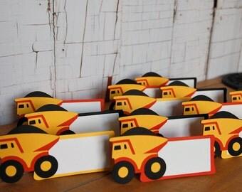 Dump Truck Food Labels, Dump Truck Place Cards, Construction, 12 pcs1.5