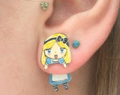 Alice In Wonderland Clinging Faux Gauge Earrings