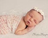 Ivory Rose Halo, Baby Girl Headband, Flower Headband, Baby Tieback, Photo Prop, Newborn Headband