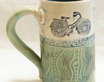 Ceramic mug 16oz bicycle stoneware 16A098