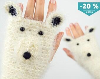 Polar Bear Fingerless Gloves (Glittering) ~ FREE Shipping Worldwide