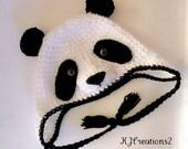 Crochet Panda Bear Earflap Hat