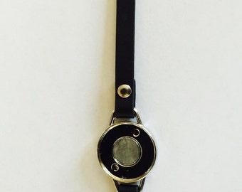 Black Leather Straps for ArtClix One Bezel Bracelets - Snap In Jewelry DIY - STRAP ONLY- Oh Snap - Gifts for her- boho- bridesmaid handmade